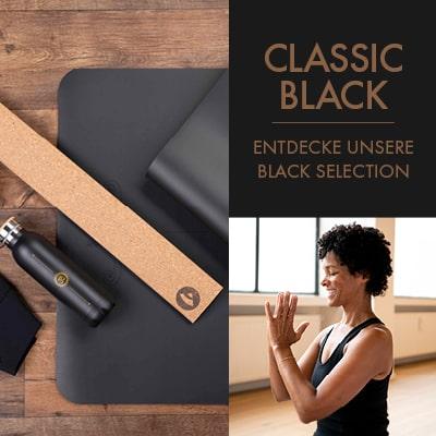 Sammlung Yoga Produkte in schwarzer Farbe