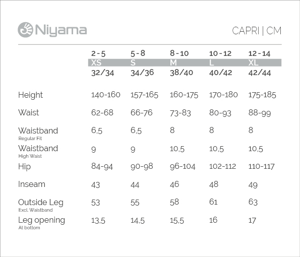 Niyama Yoga Wear: Sizechart CAPRI in cm