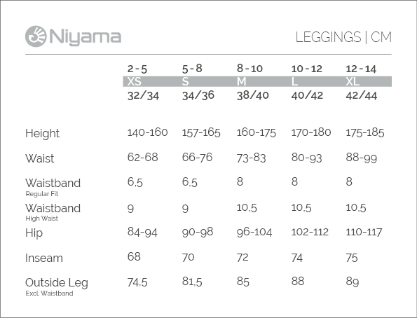 Niyama Yoga Wear: Sizechart Leggings in cm