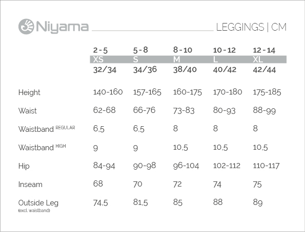 Niyama Leggings size chart for women