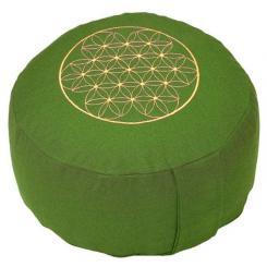 Meditationskissen RONDO BASIC - Blume des Lebens grün   Dinkel