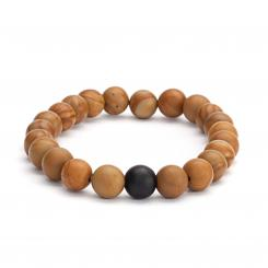Mala bracelet, wooden beads with black agate (fashion jewelry)