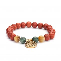 Mala bracelet, red jasper, moss agate & tiger eye (fashion jewelry)