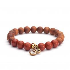 """Bracelet fantaisie Mala, """"jaspe rouge"""" & perles en bois à senteur santal"""