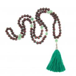 Mala rosewood and green onyx, 108 beads