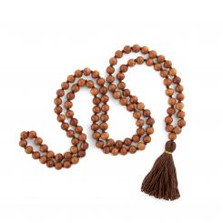 Mala sandalwood with brown tassel, 108 beads