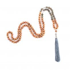 Mala mit Labradorit, Bergkristall und Holzperlen mit Sandelholzduft, 108 Perlen
