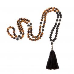 Mala tiger eye with black tassel, 108 beads