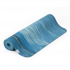 Natural rubber yoga mat SAMURAI MARBLED blue