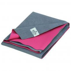 YATRA, serviette et tapis de yoga, en microfibre, revêtement en TPE gris/rose