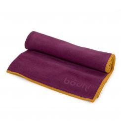 Serviette pour le yoga NO SWEAT FUN S aubergine/bordure safran (nouveau)