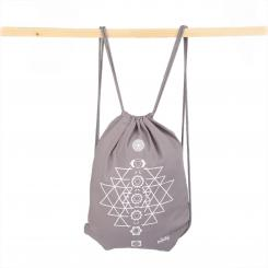 Drawstring bag, cotton with print YANTRA CHAKRAS, grey