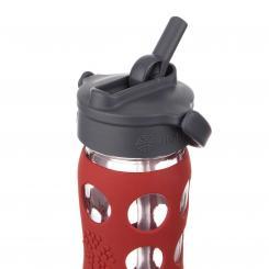Trinkflasche aus Glas 470 ml - Straw-Cap, red
