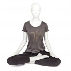 Bodhi Yoga Shirt Damen - OM, anthrazit S
