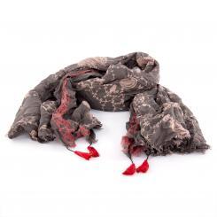 Leichter Baumwollschal mit verspieltem Muster,  anthrazit/rot
