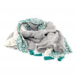Leichter Baumwollschal mit verspieltem Muster, grau/grün
