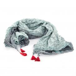 Châle en coton léger imprimé, gris/menthe