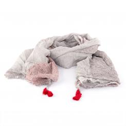 Leichter Baumwollschal mit verspieltem Muster, hellgrau/rot