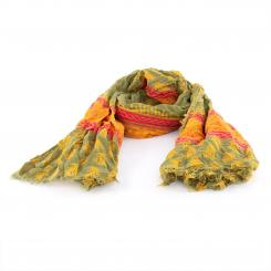 Printed cotton shawl, olive/moutarde/rouge
