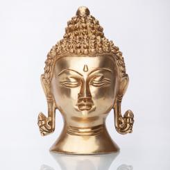 Statuette de tête de Buddha, laiton, 15 cm