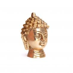 Statuette de tête de Buddha, laiton, 7,5 cm