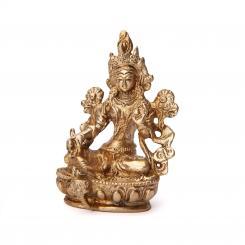 Green Tara statue, brass, approx. 9 cm