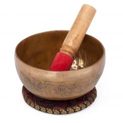 Bol chantant tibétain « Singing Bowl » avec gravure BOUDDHA de bodhi, env. 450 g, Ø 11 cm
