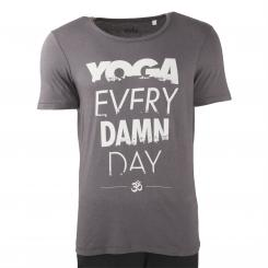 Bodhi Mens T-Shirt - YOGA EVERY DAMN DAY, anthracite
