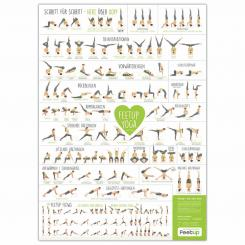 Poster with exercises for Yoga headstand stool, DIN A2