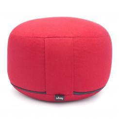 Meditationskissen RONDO CLASSIC groß abnehmbar | Dinkelhülsen | rot (Köper)