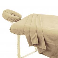 TAOline - Jeu complet en flanelle (3 pièces) coton 79-84x185cm écru