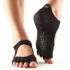 ToeSox Bellarina, chaussettes antidérapantes à 5 doigts mi-couverts, noir