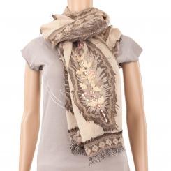 Châle en laine à motif plumes brodées beige