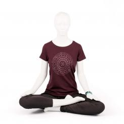 Bodhi Yoga Shirt Damen - ETHNO MANDALA, grape red XL