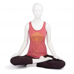 "Bodhi Yoga Tank Top Damen - ""GANESHA"", cranberry melange"
