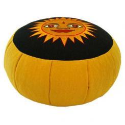 Meditationskissen ZAFU mit Sonne gelb (velveton)   gelb   Dinkel