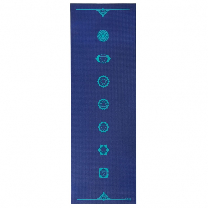 Tapis de yoga design CHAKRAS, The Leela Collection Chakras, bleu