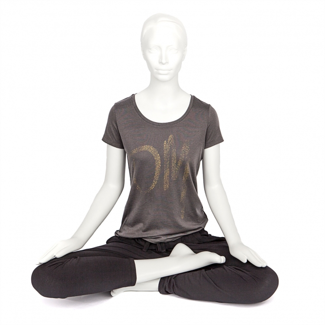 Bodhi Yoga Shirt Damen - OM, anthrazit
