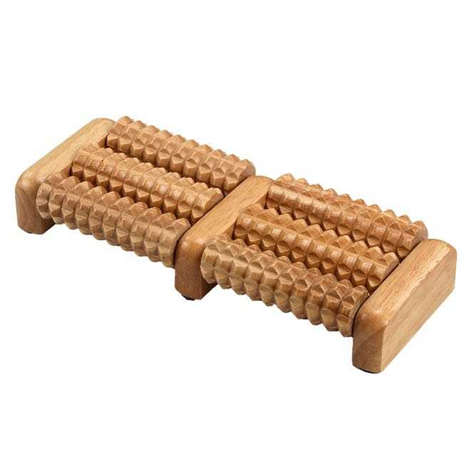 Foot massage roller, wood, 6 rollers