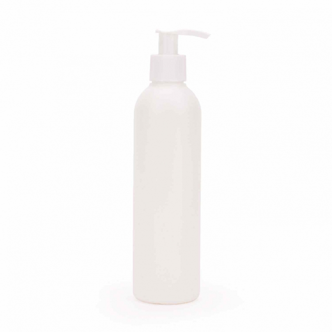 PE bottle with pump, white
