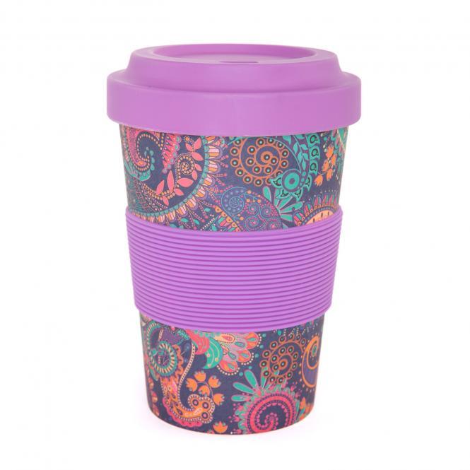 bodhi YogiCup 2 Go Bambus Kaffeebecher Paisley purple