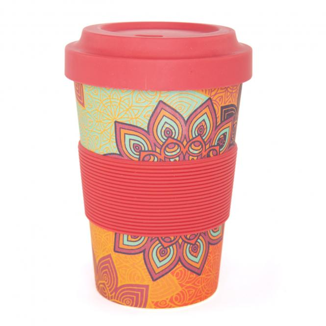 bodhi YogiCup 2 Go Bambus Kaffeebecher Sunflower orange
