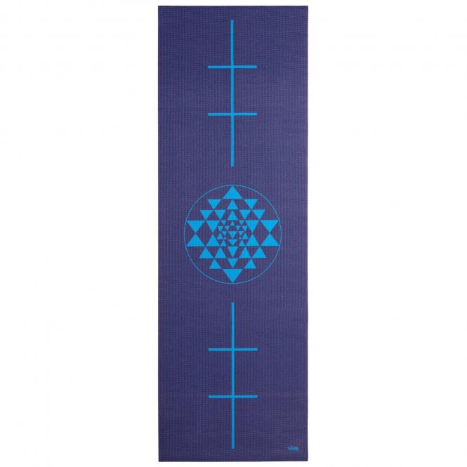 Tapis de yoga design YANTRA/ALIGNEMENT, The Leela Collection Yantra/Alignement, bleu foncé