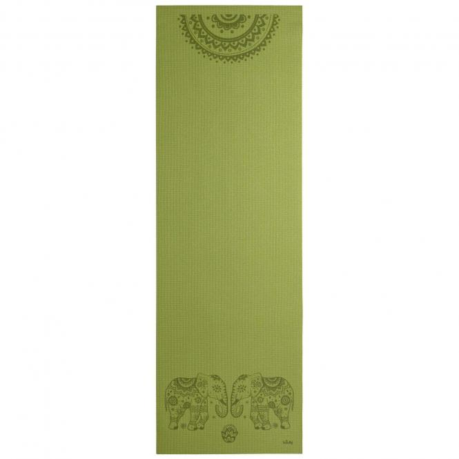 Tapis de yoga design ELEPHANT/MANDALA, The Leela Collection Elephant/Mandala, vert olive