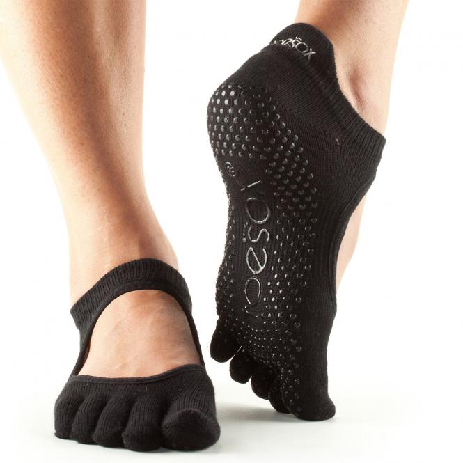 ToeSox Bellarina, chaussettes antidérapantes à 5 doigts, noir