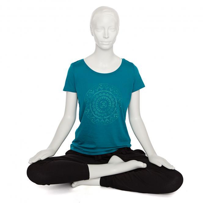 T-shirt femme BODHI - Mandala éthnique, pétrole