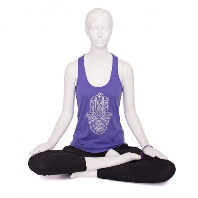 Bodhi Womens Tank Top, purple - Hamsa Hand, silber
