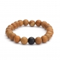 Mala bracelet, wooden beats with black agate