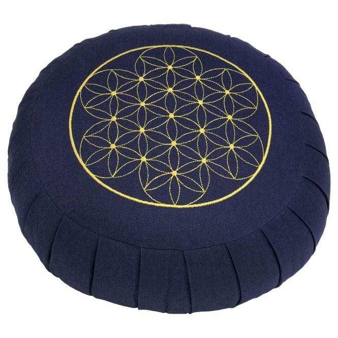 Meditationskissen ZAFU BASIC - Blume des Lebens dunkelblau | Dinkel