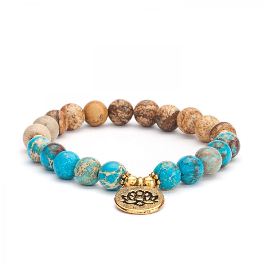 Mala Armband mit Jaspis und Türkis, Modeschmuck